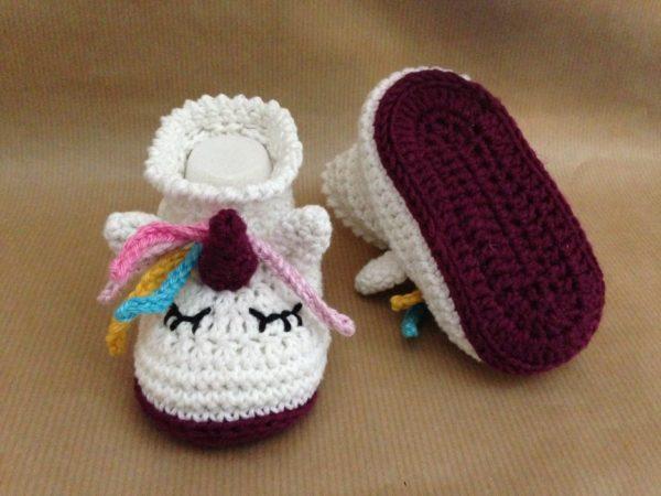 Häkelanleitung Babyschuhe Einhorn von The KnitKnotShop