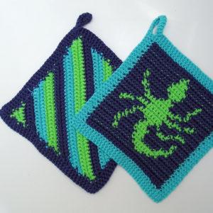 Häkelanleitung Topflappenset Skorpion von Marianne Radeloff / Knitteltante