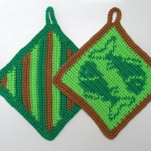 Häkelanleitung Topflappenset Fische von Marianne Radeloff / Knitteltante