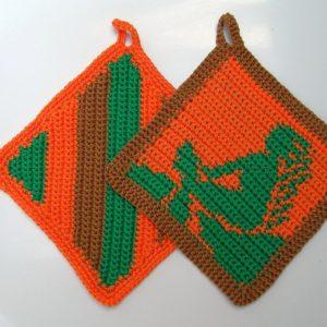 Häkelanleitung Topflappenset Jungfrau von Marianne Radeloff / Knitteltante