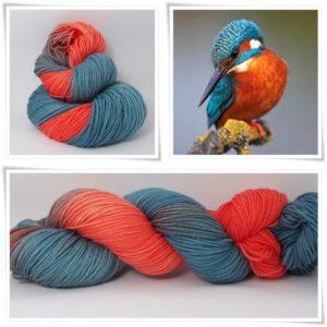 Eisvogel Merino-Sockenwolle 4-fach von Wollelfe