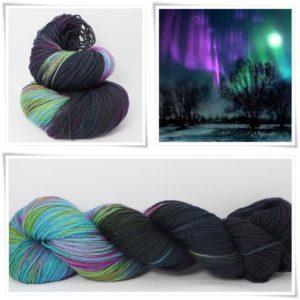 Farbenspiel der Nacht Merino-Sockenwolle 4-fach von Wollelfe