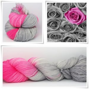 Grau liebt Rosa Merino-Sockenwolle 4-fach von Wollelfe