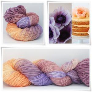 Pfirsich im Fliederbusch Sockenwolle 4-fach von Wollelfe